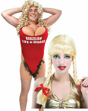 Anita Waxin Hairy Mary Red Bikini Mens Swimsuit 1990s Fancy Dress Blonde Wig
