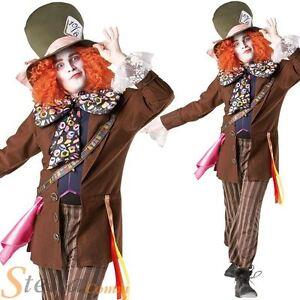 Mens Mad Hatter Costume Alice In Wonderland Halloween Fancy Dress