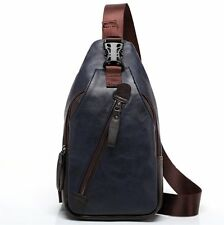 FREEMASTER Sling Pack Shoulder Backpack Mens Shoulder Bag Small PU Lether bag