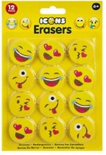 PMS Emoji Icons Erasers Novelty Rubbers - Pack of 12 Assorted Designs Party Gift