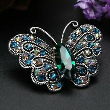 Women's Vintage Rhinestone Crystal Butterfly Wedding Bridal Bouquet Brooch Pin