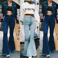 Women's Skinny Stretch High Waist Flared Denim Jeans Bell Bottoms Pants Trousers