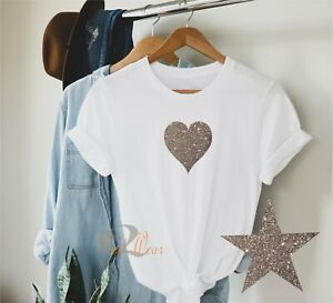 Glitter Heart - Ladies T Shirt Fashion Sparkle Printed Top also in kids sizes