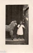 BJ389 Carte Photo vintage card RPPC enfant jouet ancien cheval mouton jeux bébé