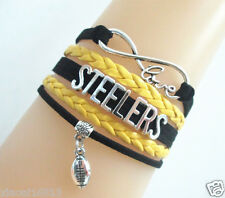 Infinity Love STEELERS Football Sports EUROPEAN Leather Braided Bracelet