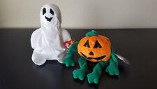 Lot of 2 TY Beanie Babies Spooky Halloween Pumkin Pumpkin 1998 Sheets Ghost 1999