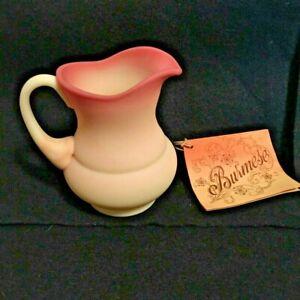 VINTAGE FENTON BURMESE ART GLASS CREAMER PITCHER w/ Original Tag