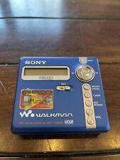 Sony Walkman Mz-N707 Portable Minidisc Recorder Net Md Type-R Mdlp Blue Works