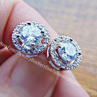 .925 Sterling Silver Round cut Halo Diamond stud post Jacket Earring Earrings