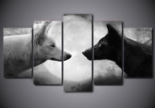Framed Picture Canvas Print Abstract Black White Wolf Animal Wall Art Home Decor