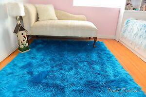 Faux fur rugs teal turquoise sheepskin flokati rectangle baby nursery area rugs