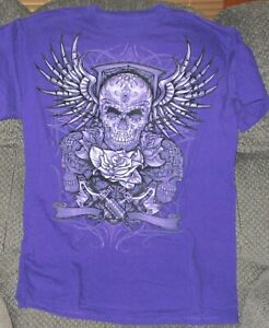 PURPLE BLACK VELVET SKULL T-SHIRT MEDIUM NEW W/OUT TAGS