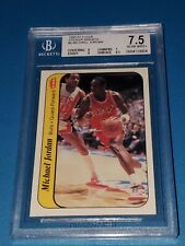 1986 Fleer Basketball Michael Jordan Rookie Sticker 8 BGS 7.5 Amazing Eye Appeal