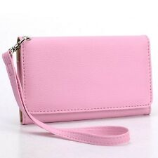 For Asus PadFone X mini Premium PU Leather Wristlet Wallet Cover Case, Pink