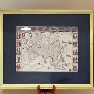 VINTAGE MAP ASIA NOVITER DELINEATA COPY BY WILLEM BLAEU FRAMED, MATTED 15 X 11