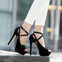 Women's Platform Peep Toe Stilettos Sandals 14cm High Heels Ankle Strap Shoes