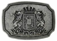 "FRONHOFER Oktoberfest belt buckle, Bavarian coat of arms antique silver 1.5""/4cm"