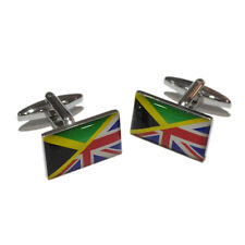 Union Jack Mixed with Jamaican Flag Cufflinks & Gift Pouch