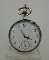 Seltene hochwertige Taschenuhr Holy Freres Tula Silber um 1910 (68079)