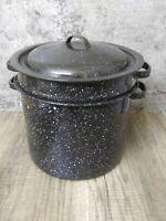 Vintage Canning 8 Qt Stock Pot W Lid & Insert Black Speckled Enamel Enamelware
