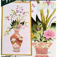 Elsa Williams MAGNOLIA FLORAL VASE Crewel Kit Michael A LeClair Orchids Fuchsia