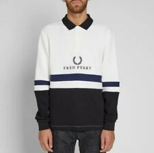 Fred Perry Embroidered Rib Sweatshirt, Size M, White/Black/Navy, New With Tags