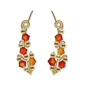 Ear Climbers Ear Crawlers Sweep Earrings Gold Swarovski Fire Opal Crystals #244