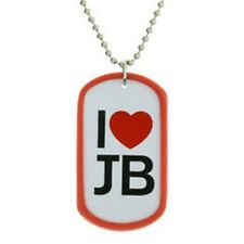 Justin Bieber Necklace I Love Heart JB Dog Tag Jewellery Official RRP £5.50