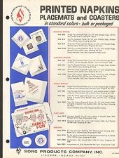 VINTAGE AD SHEET #2090 - SORG PRINTED NAPKINS LACEMATES & COASTERS