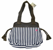 Split MINI SWISS BAG Navy Brown White Stripes Magnetic Snap Inner Pockets Purse