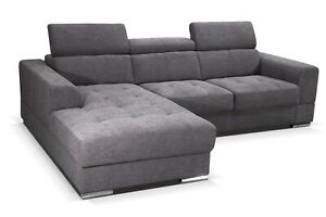 Ecksofa mit Schlaffunktion Brisel, 2-Sitzer L Form Sofa, Kopfteilfunktion