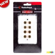 4 Speaker 8 Binding Post Banana Jack Wall Plate Face Plate Surround Sound White