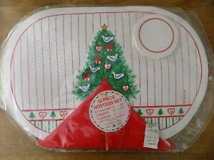 Franco Retro 12-pc Hostess Set 4 Vinyl Placemats 4 Red Napkins 4 Coasters NEW