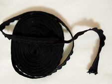 "1/2"" Black Cotton Scalloped Trim 11 yards New"