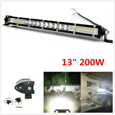 "13"" 200W Single Row LED Combo Spot Flood Beam Work Light Bar + Mount Bracket"