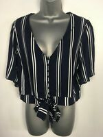 WOMENS NEW LOOK NAVY BLUE WHITE STRIPED SHORT SLEEVE TIE UP BLOUSE SHIRT UK 14