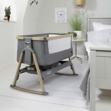 New Tutti Bambini CoZee air bedside crib Oak & Charcoal birth - 9kg & Travel bag
