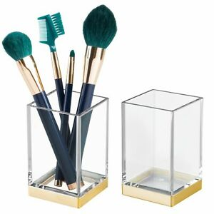 mDesign Square Tumbler Cup for Mouthwash, Makeup Brushes, 2 Pack - Clear/Gold