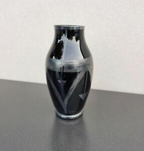 Vase vintage scandinave en verre noir style Art Déco signé verrerie Eda 1930