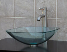 Bathroom Glass Vessel Vanity Sink Nickel Faucet TS12L3