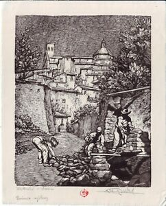VLADIMIR PUKL/Bricklayers in Assisi/The Prize Exhibition/ORIGINAL WOOD ENGRAVING