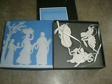 In Box ~ Wedgwood Set of 3 Fairy Ornaments on White Satin Ribbon
