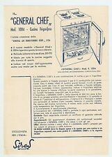 "Advertising ""GENERAL CHEF"" Mod. 1004 Cucina Frigorifero - Volantino Anni 50"