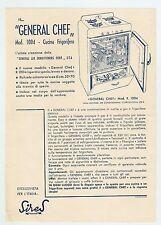 "Advertising ""GENERAL CHEF"" Mod. 1004 Cucina Frigorifero - Volantino Anni 50"
