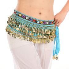 US2 Belly Dance Hip Scarf Skirt Wrap Velvet Chain coins Tribal Waist Belt Skirt
