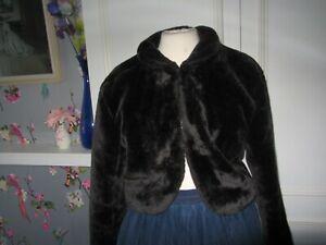 faux fur bolero jacket in black/brown.  size medium (12)
