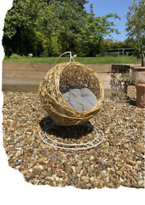 Natural Rattan Egg Chair Cat Pet Bed With Cushion Feline Pets Sleep Padded New
