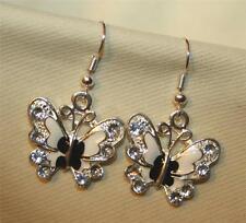 Delighful Black & White Enamel Rhinestone Butterfly Silvertone PIERCED Earrings