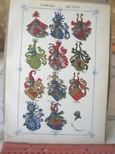 Vintage Print,PLATE 46,Swiss Coats of Arms,1860,Jean Egli,Illuminated