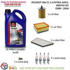 PEUGEOT 206 CC 1.6 00-04 FULL SERVICE KIT (MK1) PETROL 5L TRIDENT 5W30 + 4 PLUGS